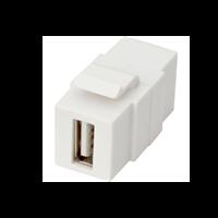 Excel 1 Port USB 2.0 Keystone Adaptor White