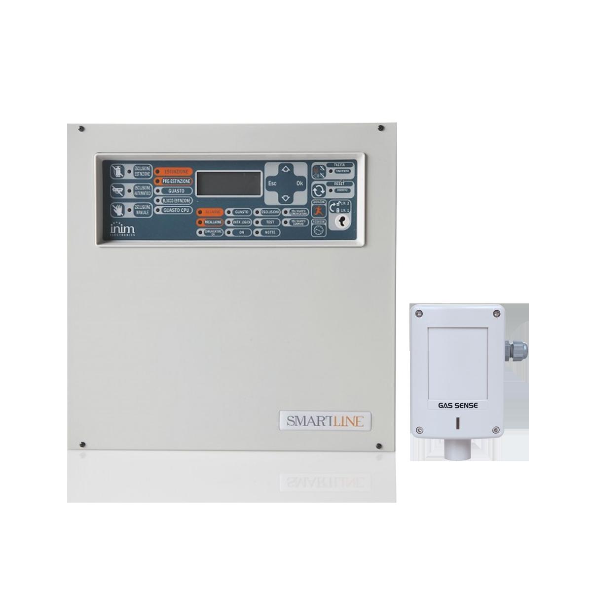 Kit Central de Gás 2 zonas e 1 Detetor INIM/GAS SENSE