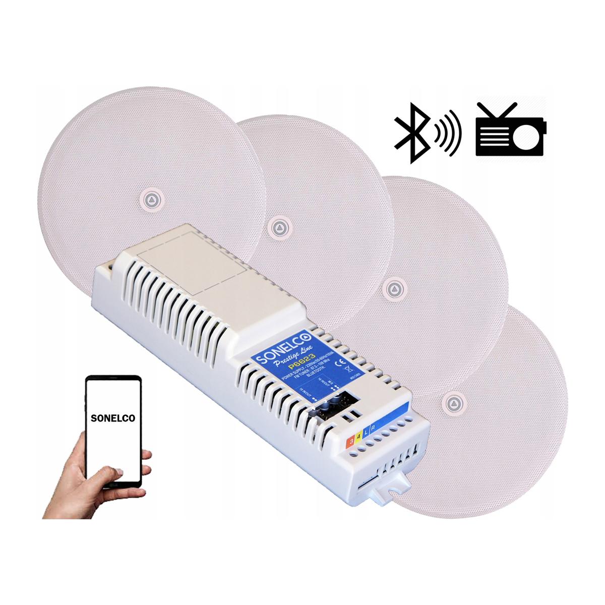 Kit som Bluetooth, FM, Aplificador ,AUX, 4 colunas